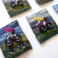 tour de france textile brooches