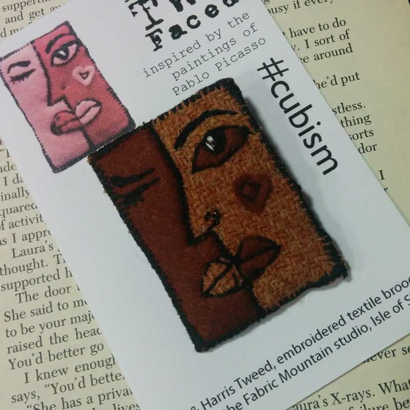 face cubism harris tweed brooch