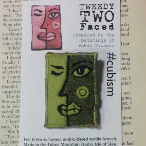 face cubism brooch