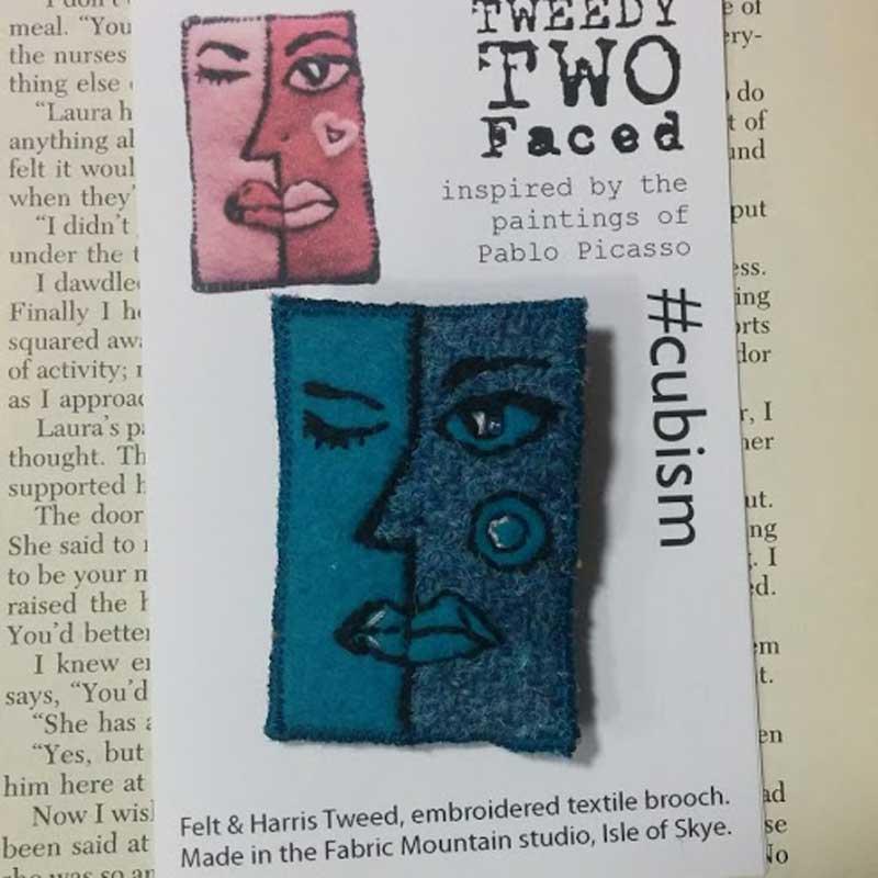 face cubist textile brooch