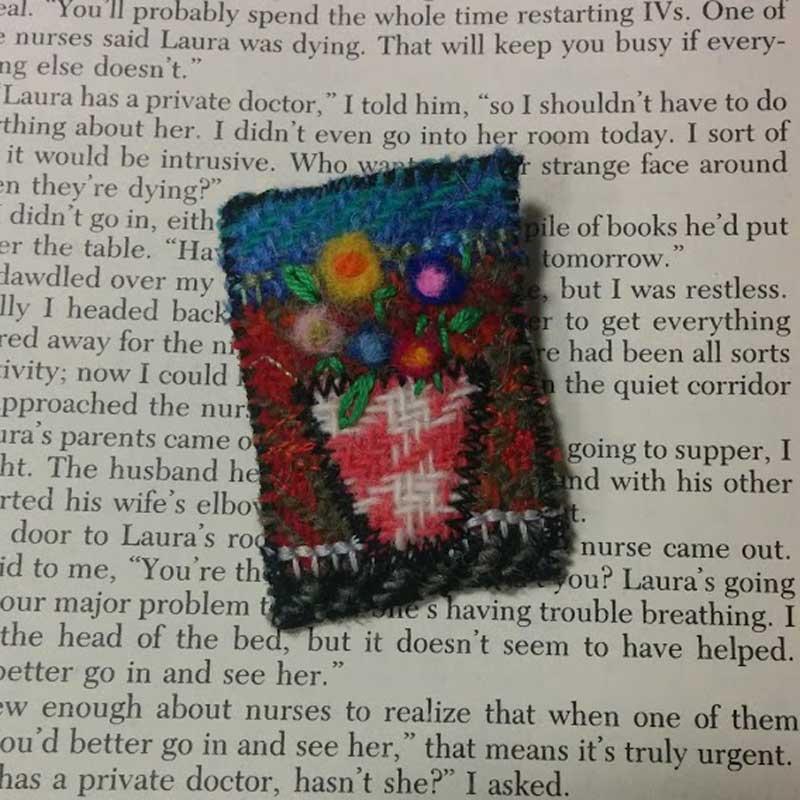 flower brooch harris tweed
