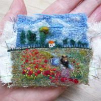 needle felted poppy field