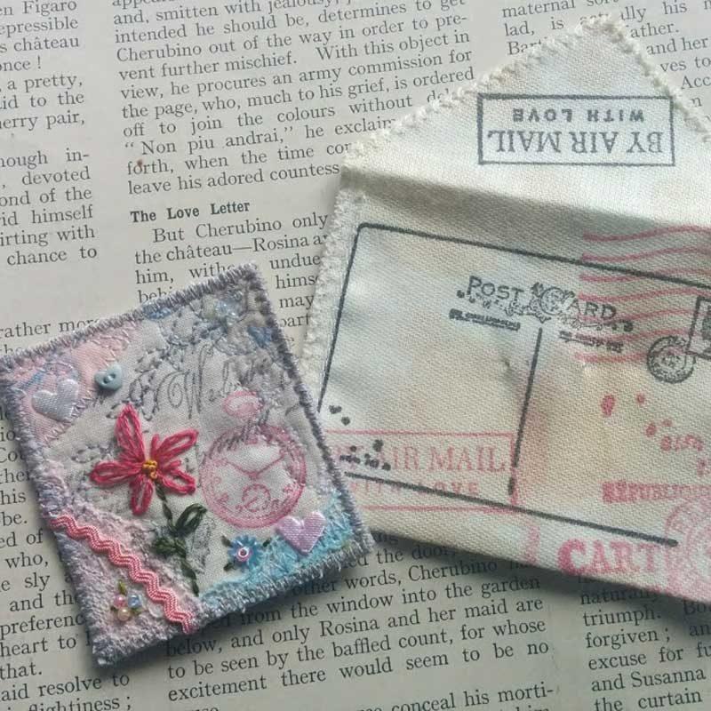 postcard, brooch