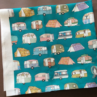 Vintage camping fabric – teal
