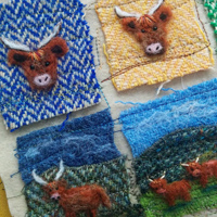 Harris Tweed Highland Coo brooches in progress