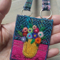 Harris Tweed flower vase necklace