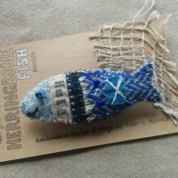 Harris Tweed Herringbone fish brooch