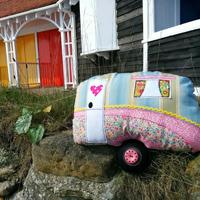 vintage caravan cushion