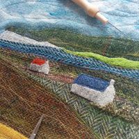 Skye landscape textile art, work in progress